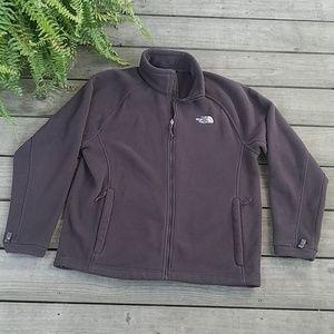 North Face Brown fleece zipper front jacket